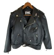 Ladies Fmc Black Leather Belted Motorcycle Jacket W/ Harley Davidson Patch Sz 22
