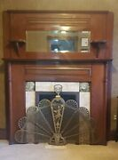 Victorian Antique Fireplace Mantle,beveled Mirror, Ornate Tiles, Brass Screen