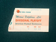 1972 Miami Dolphins Vs Cleveland Browns Afc Playoff Ticket Nfl Perfect Season