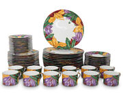 Fitz And Floyd 12 5-pc Place Settings Cloisonne Tropicana 1991-92 / Near Mint