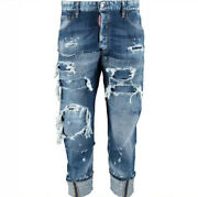 £840 Dsquared2 'work Wear Jean' Distressed Patchwork Jeans - Made In Italy