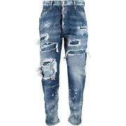 £840 Dsquared2 Runway Distressed Patches Detail Jeans - Made In Italy