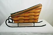1997 Longaberger Sleigh/vegetable Basket Wrought Iron Runners And Protector