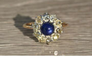 Antique Sapphire And Old Mine Cut Diamond Ring