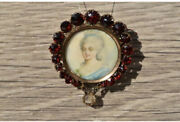 Victorian Hand Painted Portrait Brooch With Bohemian Garnets In Rose Gold