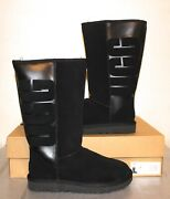 Ugg Australia Classic Tall Rubber Boots Size 7 Graphic Logo Black