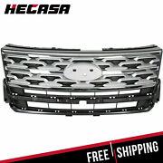 Fits Ford Explorer Limited Xlt 2018 2019 Front Upper Grille Grill Silver