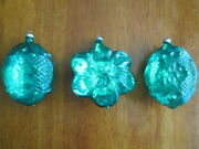 3 Vintage Teal Blue Green Glass Mouth Blown Christmas Ornaments West Germany