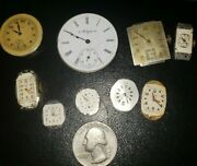 9 Vintage Elgin Watch Movements Faces Untested/parts/repair Faces Small Large