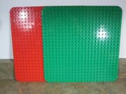 """4 Large Lego Duplo 15"""" X 15"""" Base Plates 24 X 24 Studs Green And Red - Q"""