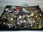 Lot Of Over 100 Items Vintage Junk Drawer Jewelry For Craft Single Earrings