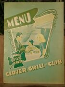 1940and039s Clover Grill And Club Restaurant Vintage Menu Fort Worth Texas