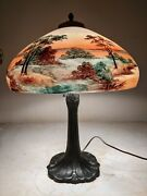 Antique Pittsburgh Base Lamp With Signed Shade Bandh, Handel Era