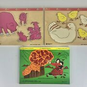 Vintage Wooden Puzzles Judy Farm Pigs Chickens Mother Boy God Lot Of 3 Usa