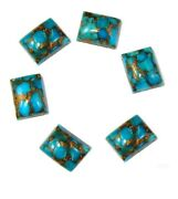 Natural Blue Copper Turquoise 6x8 Mm To 18x25 Mm Octagon Cabochon Loose Gemstone
