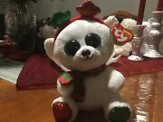 """Ty Beanie Boos Boo -frost Claire's Exclusive The Christmas Bear - New -6"""""""