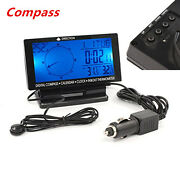 Car Digital Compass With Clock In/out Thermometer Calendar Function Luminous New