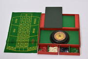Vintage Roulette Set Wheel Casino Chips And Red Faux Leather Box