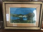 Antique Original Painting Acrylic On Board From Italy Sea Scenry