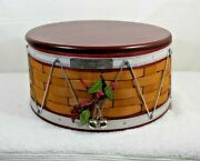 2012 Longaberger Christmas Collection Drum Basket With Lid, Liner, And Bells
