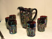 Antique Carnival Glass - Pitcher /6 Tumblers