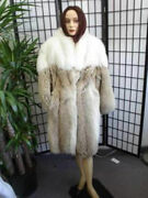 Excellent Canadian Coyote And White Fox Fur Coat Jacket Women Woman 14 Xxl
