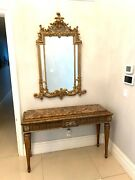 🧸2p Old World Jeffco Marble Top Console Bronze Ornate Mirror Set