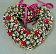 Vtg Holiday Pinecone Gold-frosted Heart Shaped Christmas Wreath Magenta Accents