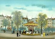 Michel Delacroix Orig. Lithograph French Andldquocarrouselandrdquo Signed/numbered Coa Framed