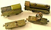 Marx 500 Army Train Set With Loco, Tender, Searchlight, And Tank Flat Tin Litho