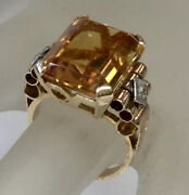 Antique Retro Citrine Diamond Accents Scroll Details Cocktail Ring Solid 18k Yg