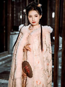 2021 Chinese Style Cloak Hanfu Shawl Cloak Winter Pink Long Quilted Top Hot