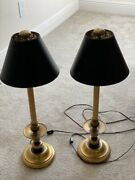 Chapman 1986 Brass Candlestick Table Lamps - Pair
