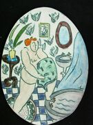 Signed Blin Art Pottery Wall Plaque Incised Figurative Nude Woman Bathing