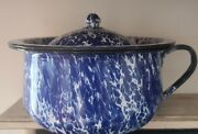 Vintage Blue And White Enamelware Chamber Pot Bucket Diaper Pail W/lid