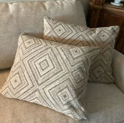 Lot 2 Ethan Allen Pillows New Feather/down Filled Neutral Diamond Pattern Heavy