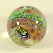 James Nowak Dichroic Art Glass Abstract Paperweight Signed