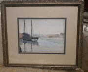 Antique Signed Seascape Sailboat Nautical Watercolor Painting Old Frame 1902