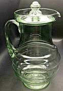 Depression Uranium Green Glass Beehive Pitcher Applied Handle Orig Finial Lid