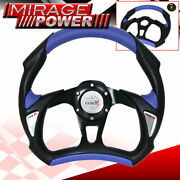 320mm Racing Steering Wheel Pvc Leather Black Blue Type R Horn Button Set