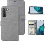 Leather Wallet Case For Samsung Galaxy S21 Plus 5g Slim Flip Folio Cover Gray