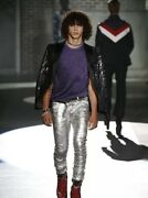 £870 Dsquared2 Runway Designer Silver Coated Leather Look Jeans - Made In Italy