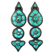 3126 Rare Antique Tibetan Silver And Turquoise Earrings