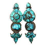 3125-1 Rare Antique Tibetan Silver And Turquoise Earrings