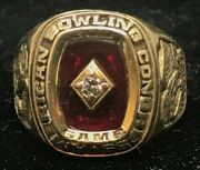 Diamond And Ruby American Bowling Congress Abc 300 Game Ring 14k Yellow Gold Sz12