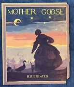 Vintage Original Book Art Cover Painting Mother Goose Watercolor 15.5 X 13