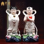 Dehua White Porcelain Colorful Decoration Golden Boy And Jade Girl Statue Pair
