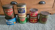 Vintage Coffee Tins Lot Of 7. Inc- Hills Bros Maxwell House And Del Monte Tin