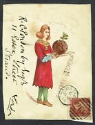 1879 1d Red Dunstable Duplex Hand Painted Front Christmas Pudding Medieval Dress