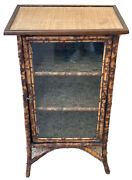 Antique English Japanese Wall Curio Display Cabinet Bookcase Bamboo Victorian